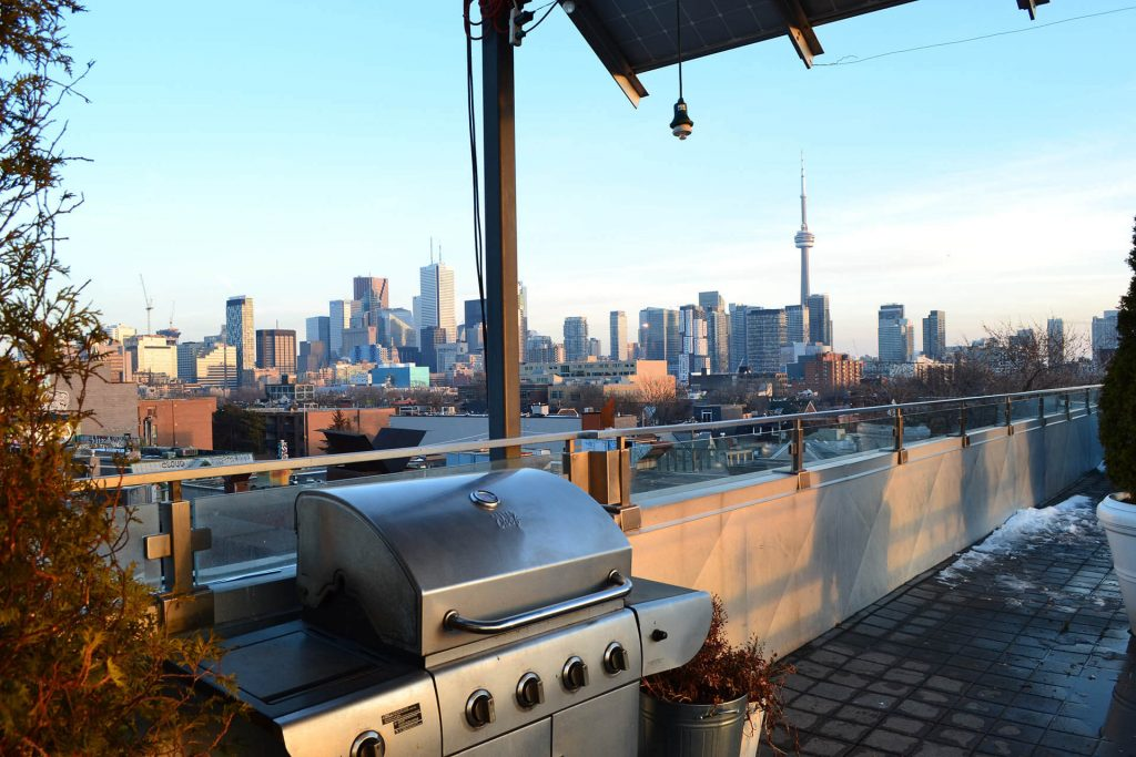 Toronto view on a rooftop with barbecue